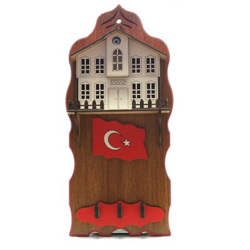 Safranbolu Evleri Türk Bayrağı Motifli Duvar Anahtarlığı