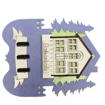 Safranbolu Evi ve Ağaç Modelli Mavi Renkli Duvar Tipi Anahtarlık