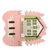 Safranbolu Evi ve Ağaç Modelli Pembe Renkli Duvar Tipi Anahtarlık