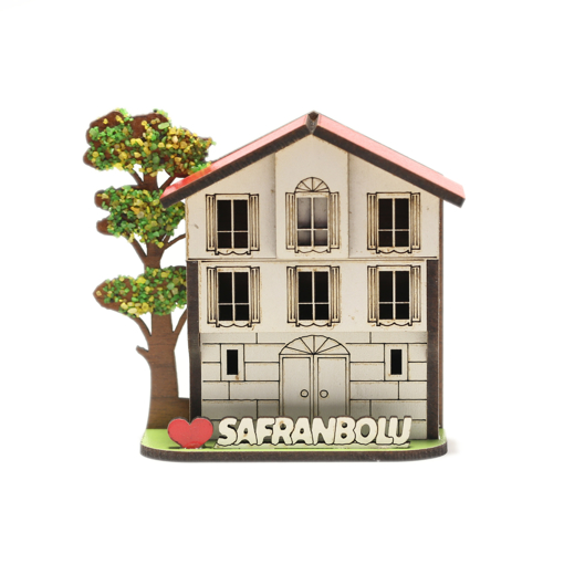 Safranbolu Evi ve Ağaç Motifli Magnetli Hediyelik Dolap Süsü Önden Görünüm