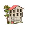 Safranbolu Evi ve Ağaç Motifli Magnetli Hediyelik Dolap Süsü Çapraz Görünüm
